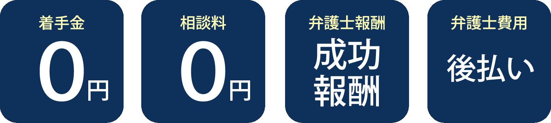 着手金0円・相談料0円・弁護士費用は成功報酬制、